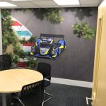 Alcon office with racing mural